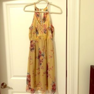 Anthropologie Yellow with Rose details Dress